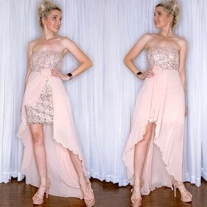 Pink Sequin High Low Cocktail Party Pageant Dress